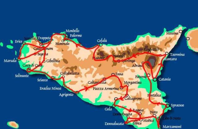 Kaartje rondreis Sicilië