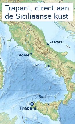Kaart Trapani, Sicilie en Italie